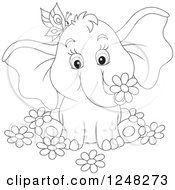 Clipart Of A Black And White Cute Elephant With A Butterfly And Flowers Royalty Free Vector Illustration