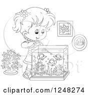 Clipart Of A Black And White Girl Looking Into A Fish Tank Royalty Free Vector Illustration