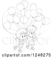 Clipart Of Black And White Children With Party Balloons Royalty Free Vector Illustration