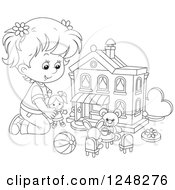 Clipart Of A Black And White Girl Playing With Toys At A Doll House Royalty Free Vector Illustration