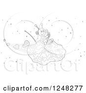 Clipart Of A Black And White Happy Alien Flying An Asteroid Spaceship Royalty Free Vector Illustration