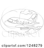 Clipart Of A Black And White Commercial Plane Flying Royalty Free Vector Illustration by Alex Bannykh