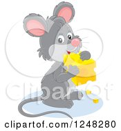 Clipart Of A Cute Gray Mouse Holding A Block Of Cheese Royalty Free Vector Illustration