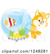 Clipart Of A Cute Orange Kitten Looking Around A Fish Bowl Royalty Free Vector Illustration