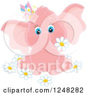 Clipart Of A Cute Pink Elephant With A Butterfly And Daisy Flowers Royalty Free Vector Illustration