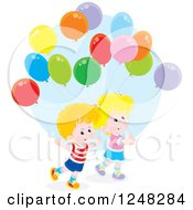 Clipart Of Children With Party Balloons Royalty Free Vector Illustration