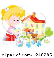 Clipart Of A Blond Caucasian Girl Playing With Toys At A Doll House Royalty Free Vector Illustration
