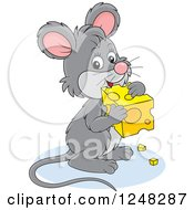 Clipart Of A Cute Gray Mouse Holding Cheese Royalty Free Vector Illustration