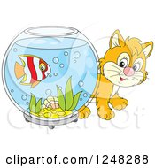 Clipart Of A Cute Ginger Kitten Looking Around A Fish Bowl Royalty Free Vector Illustration