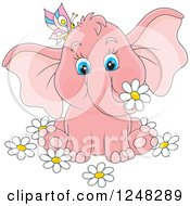 Clipart Of A Cute Pink Elephant With A Butterfly And Flowers Royalty Free Vector Illustration
