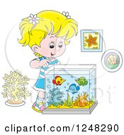 Clipart Of A Blond Girl Looking Into A Fish Tank Royalty Free Vector Illustration by Alex Bannykh