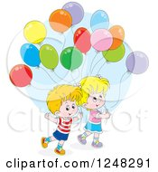 Clipart Of Caucasian Children With Party Balloons Royalty Free Vector Illustration by Alex Bannykh