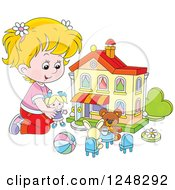 Clipart Of A Blond Girl Playing With Toys At A Doll House Royalty Free Vector Illustration by Alex Bannykh