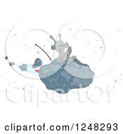 Clipart Of A Happy Alien Flying An Asteroid Spaceship Royalty Free Vector Illustration by Alex Bannykh
