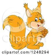 Clipart Of A Cute Squirrel Holding A Nut Royalty Free Vector Illustration