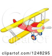 Clipart Of A Colorful Biplane Flying Royalty Free Vector Illustration