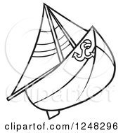 Clipart Of A Black And White Sail Boat Royalty Free Vector Illustration by dero
