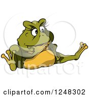 Clipart Of A Thinking Green Female Toad Frog Royalty Free Vector Illustration by dero