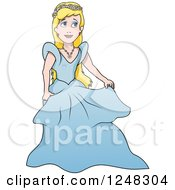 Clipart Of A Blond Princess In A Blue Gown Royalty Free Vector Illustration by dero