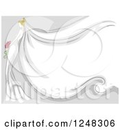 Clipart Of A Blond Bride With A Long Veil For Text Space Royalty Free Vector Illustration