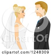 Clipart Of A Blond Caucasian Wedding Couple Facing Each Other Royalty Free Vector Illustration