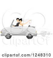 Clipart Of A Just Married Wedding Couple Driving Away In A Convertible Royalty Free Vector Illustration