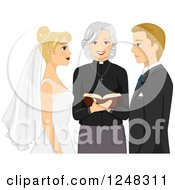 Clipart Of A Clergy Woman Marrying A Blond Caucasian Couple Royalty Free Vector Illustration