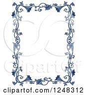 Clipart Of A Border Of Vintage Blue Floral Vines Royalty Free Vector Illustration