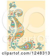 Clipart Of A Tan Paisley Background With Text Space Royalty Free Vector Illustration