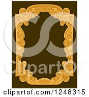 Clipart Of A Vintage Swirl Frame On Brown Royalty Free Vector Illustration by BNP Design Studio