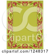 Clipart Of A Vintage Floral Frame In Green And Red Royalty Free Vector Illustration