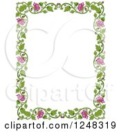 Clipart Of A Green Leafy Vine And Pink Flower Border Royalty Free Vector Illustration