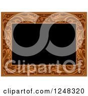 Clipart Of A Carved Floral Wooden Border On Black Royalty Free Vector Illustration