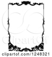 Clipart Of A Grayscale Floral Filigree Border Royalty Free Vector Illustration
