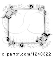 Clipart Of A Grayscale Floral Vine Filigree Border Royalty Free Vector Illustration