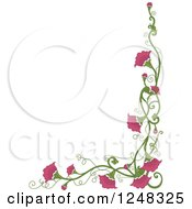 Clipart Of A Pink Floral Vine Border Royalty Free Vector Illustration