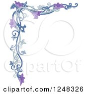Clipart Of A Purple Floral Vine Border Royalty Free Vector Illustration