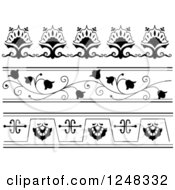 Clipart Of Black And White Floral Borders Royalty Free Vector Illustration