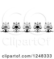 Clipart Of A Black And White Floral Border Royalty Free Vector Illustration