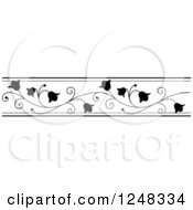 Clipart Of A Black And White Floral Bell Flowers Border Royalty Free Vector Illustration