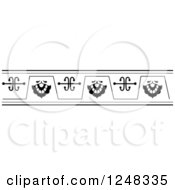 Clipart Of A Black And White Vintage Floral Border Royalty Free Vector Illustration