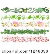 Clipart Of Vine Borders Royalty Free Vector Illustration