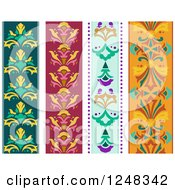 Clipart Of Colorful Vertical Floral Borders Royalty Free Vector Illustration