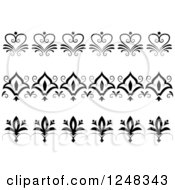 Clipart Of Vintage Black And White Floral Heart Borders Royalty Free Vector Illustration