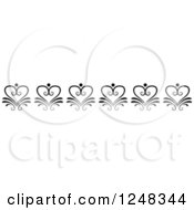 Clipart Of A Vintage Black And White Floral Heart Border Royalty Free Vector Illustration