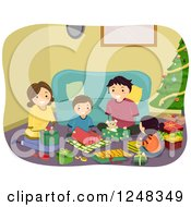 Clipart Of A Happy Family Opening Gifts On Christmas Day Royalty Free Vector Illustration