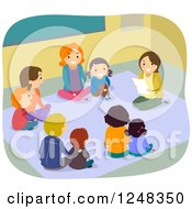 Clipart Of A Female Teacher With Mothers And Children Sitting On A Floor Royalty Free Vector Illustration