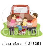 Clipart Of A Happy Farm Family With Apple Bushels At A Truck Royalty Free Vector Illustration