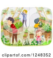 Clipart Of A Happy Family Gardening In Their Greenhouse Royalty Free Vector Illustration