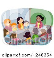Clipart Of A Female Teacher With Parents And Students In A PTA Meeting At A Table Royalty Free Vector Illustration